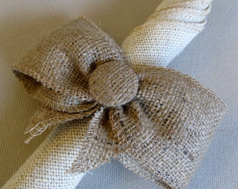 natural Bow napkin ring with 2 inch band