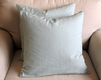pair of spa blue organic cotton duck pillow covers with inserts
