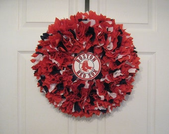 "14"" Boston Red Sox Fabric wreath--logo must be attached by consumer"