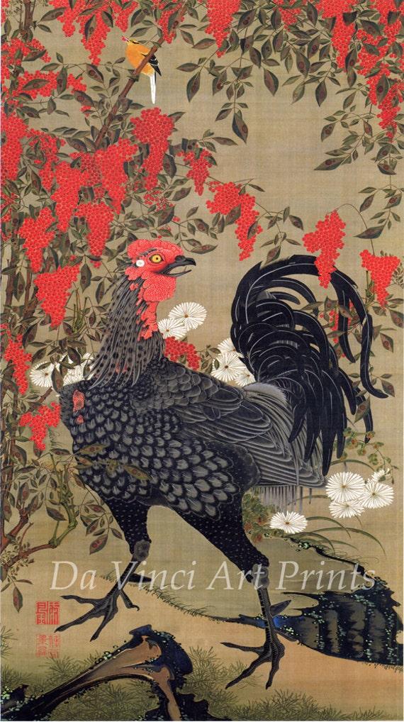 Japanese Art. Fine Art Reproduction. Black Rooster and Nandina, c.1760 by Ito Jakuchu. Fine Art Print