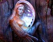 5 x 8 Print -  Art Card, Winged Bird-Woman in Moon Shell,  Driftwood Sculptures by Debra Bernier, Shaping Spirit, Blank Inside