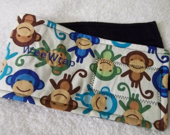 Dog Diaper Belly Band, Monkey Fabric, Stop Marking,  Personalized, Fast Shipping