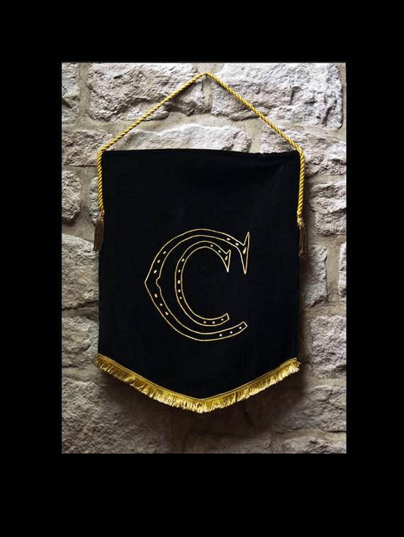Antique French Religious Church Banner. Embroidered Black Silk Velvet, Yellow Silk Gothic Letter/s 'Cc'. Bullion Tassels, Braid.