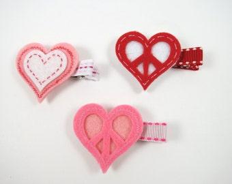 Pink Hair Clips - Heart Hair Clips - Red Hair Clips -  Small Hair Clip Set - Hair Clip Set
