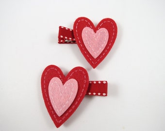 Pink and Red Valentine Heart Hair Clips - Red Hair Clips - Heart Hair Clip Set -  Pink Hair Clips - Hair Clip Set - Valentines Day