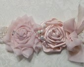 Wedding Garter and Toss/ Blush Pink Shabby Chic Wedding Garter/Perfect For You Garter in Your Colors,  Toss Included