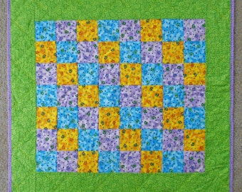 Purple, Blue, & Yellow Seashell and Starfish Blocks Accented with Green Swirls