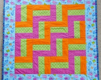 Sealife Zigzag Quilt Accented with Purple, Green, & Orange Geometric Prints