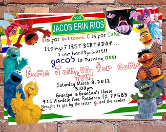 1st Birthday Elmo Party Invitation