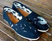 Custom Hand Painted TOMS -- White Dandelion Seed Art on Black Canvas Classic TOMS Shoes -- Customizable