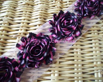 1 YD., Black Big Hearts, Shabby Flower Trim, Craft Supplies,  Chiffon Rosettes, Valentine's Day,Boutique Flowers