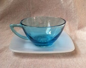 Vintage Aqua Blue Glass Tea Cup and Blue Milk Glass Saucer