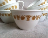 Vintage Golden Butterfly Corelle Teacups- Set of 5 with Sugar Bowl and Creamer