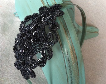 Navy Blue Beaded and Sage Green Ribbon Headband
