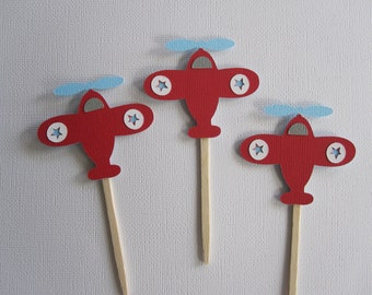 12 Airplane Cupcake Toppers Light Blue and Red