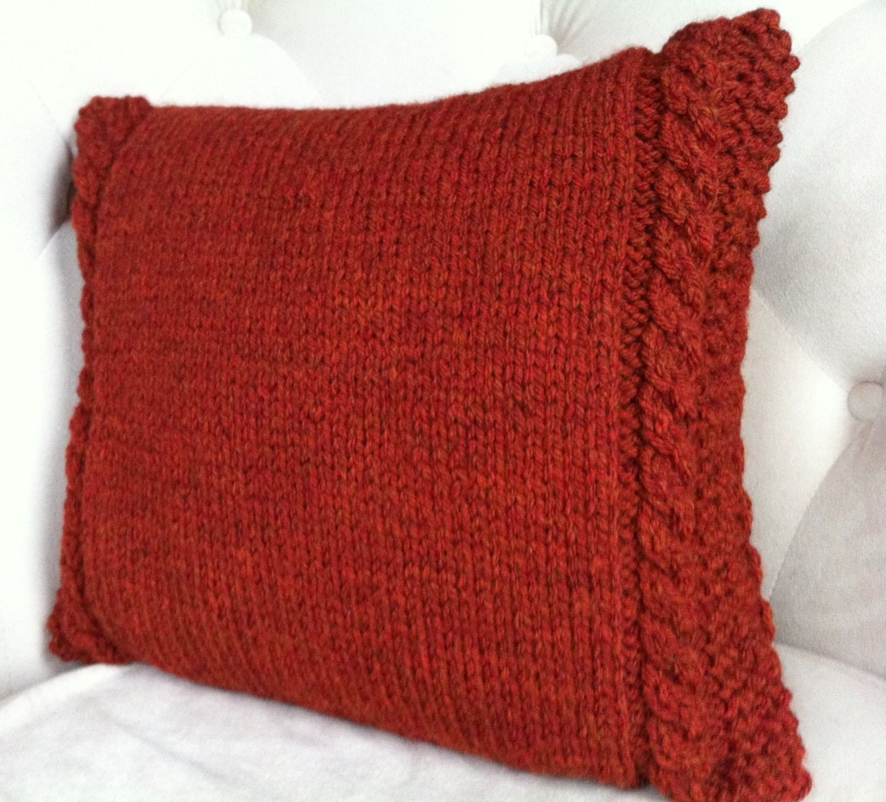 Knitting Pillows : Decorative pillow cable knit cover