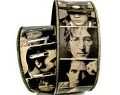 Leather guitar strap - ICONIC MUSICIANS design / Gift for man/ Gift for her