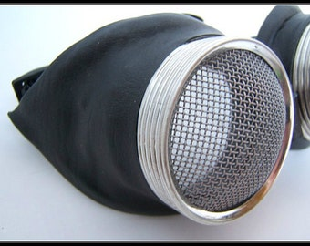 steampunk goggle Leather vintage-looking Motorcycle Goggles - waspeye decal lens lens