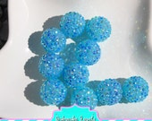 22mm Aqua blue resin rhinestone chunky beads bubblegum beads