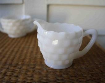 SALE Milk glass cream and sugar set