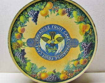 Vintage Paradise Fruit Cake tin, 1920's lithographed tin in great condition