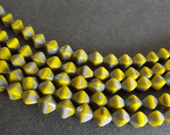 Czech Beads - Yellow and Gray Colored Pressed Glass, 6x9mm - 25 beads