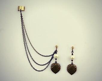 ear cuff pearl shell earrings, shell earrings, art deco earrings, vintage earrings, hipster earrings