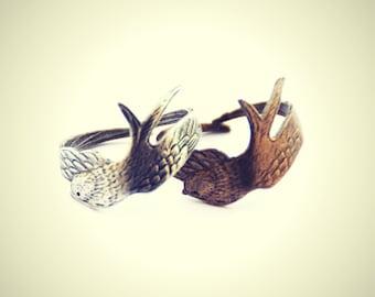 silver or brass bird ring, wrap bird ring, silver feather ring, brass feather ring, vintage style