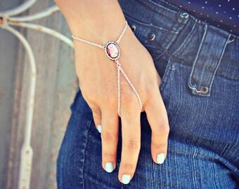 pink opal slave bracelet in silver, ring bracelet, slave ring, unique bracelet, opal ring