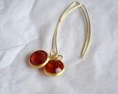 Vintage Siam Red Swarovski Gold Framed Stone Earring