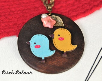 Bird Necklace - Two Cute Birds with Wooden Pendant Long Necklace