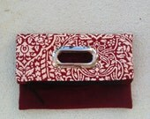 FREE SHIPPING USA.  Claret and cream clutch bag, foldover bag with eyelet handles, zipper pouch.