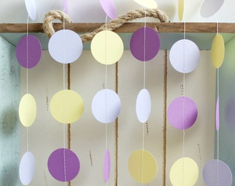 Purple, Lavender and Yellow 12 ft Circle Paper Garland- Wedding, Birthday, Bridal Shower, Baby Shower, Party Decorations