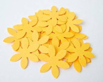 50 Orange Yellow Flower Die cuts punches cardstock 1 inch -Scrapbook, cards, embellishment, confetti