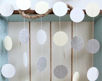 Silver Glitter, White, Cream 10 ft Circle Paper Garland- Wedding, Birthday, Bridal Shower, Baby Shower, Party Decorations