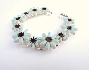 Blue Daisy bracelet ceramic daisies Dusk blue wedding