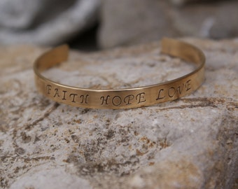 "Personalized Hand Stamped 1/4"" Brass Cuff Bracelet"