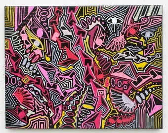 ORIGINAL abstract contemporary pop art fine art surrealism canvas markers modern cubism painting