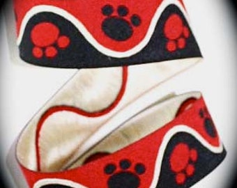 """Woven Ribbon - 1"""" yards Paws - Black, Red and Creme"""
