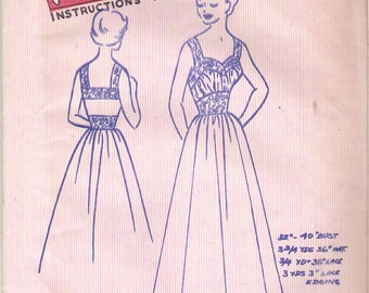1950's Sewing Pattern - Fashion Cut Pattern Dress or Nightie with waist detail Size 12