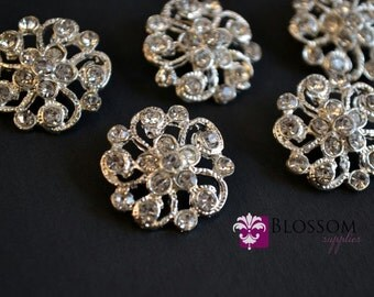 Metal Rhinestone Buttons with Loop Crystal Clear 21mm - Flower Centers - Wedding Bridal Prom Jewels - Blossom Supplies Wholesale Crafts