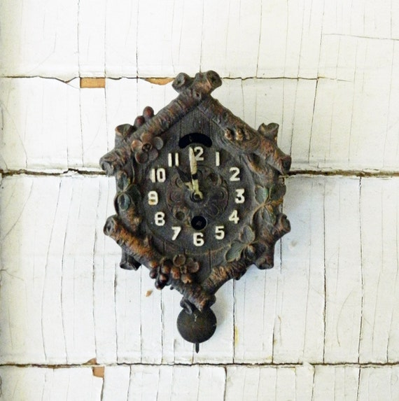Reserved for V - Cuckoo Clock Face - With Pendulum and Hands - Carved Wooden Face - Metal Back and Pendulum - Shabby Chippy Hands Pendulum