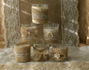 Burlap and lace tea candles