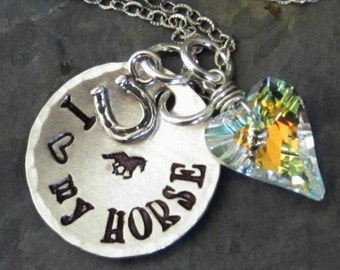 Hand Stamped Horse Necklace-Horse jewelry-Sterling Silver for Equestrian or Horse Lover.