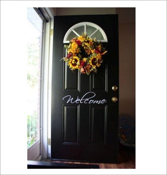 Welcome Door Vinyl Decal Front Door Wall By CustomVinylbyBridge
