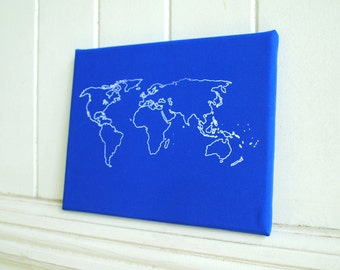 World Map White on Blue - Screenprint Stretched on Canvas