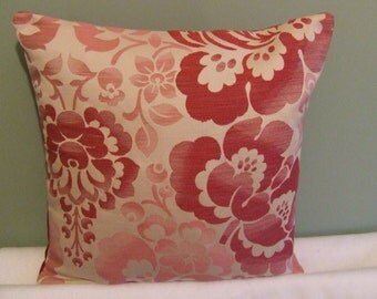 "Modern, contemporary cranberry red flowerd 16"" x 16"" cushion cover, scatter cushion, pillow case"