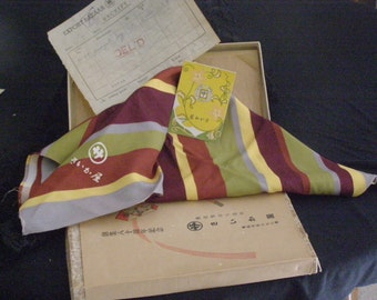 Vintage Chinese-Japaneses Asian Cultural Silk Scarf  Stripes Beautiful in original Box 1950 Complete with Note Card