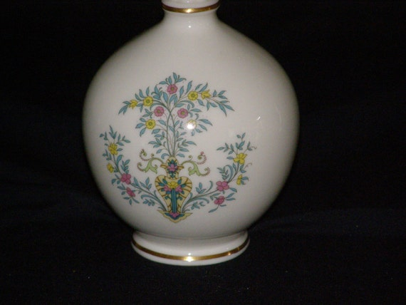 Vintage Lenox China High Vase Bulbous Blue Tree Gold Stamp