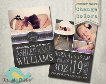 Baby Girl Announcement PHOTOSHOP TEMPLATE - Baby Girl Chalk